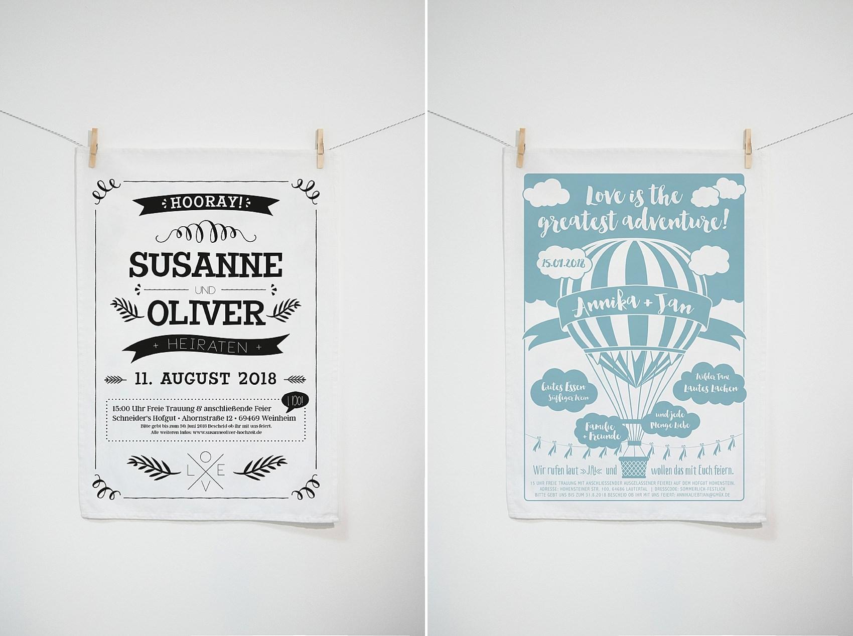 Besondere Hochzeitseinladung gedruckt auf ein Geschirrtuch, nachhaltiges Gastgeschenk und Erinnerung
