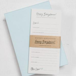 Wunschkarten für Babyparty Babyshower Schneiders Papeterie