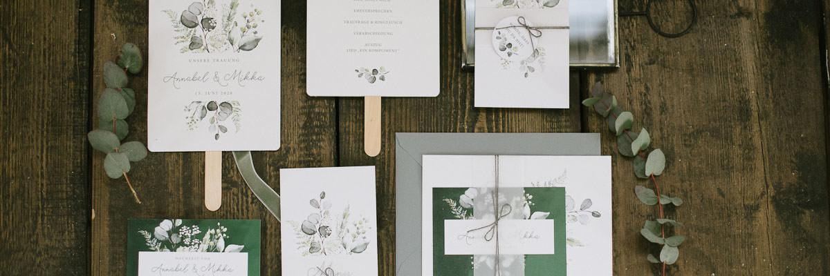 Hochzeitspapeterie im Modern Botanical Look