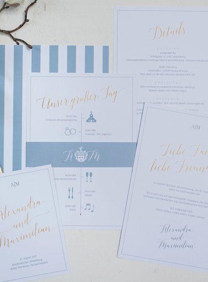 Hochzeitspapeterie in Dusty Blue & Gold