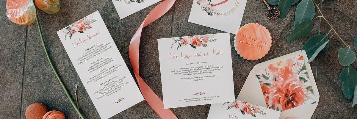 "Hochzeitspapeterie ""Romantic Coral Flowers"""