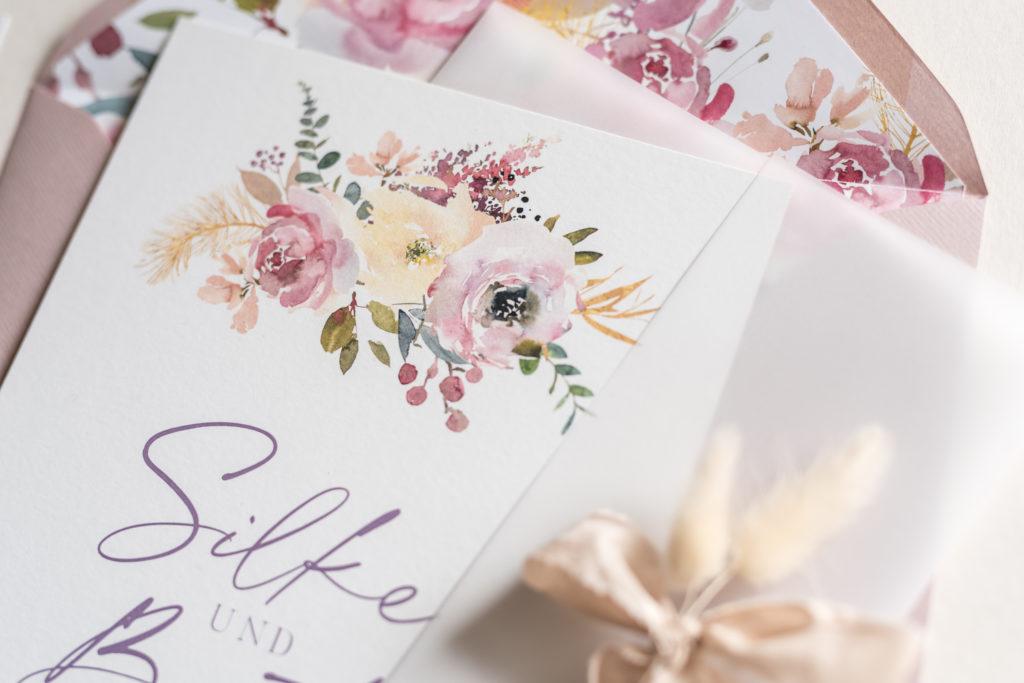 Hochzeitseinladung Dusty Rose, Herbsthochzeit, Soft Tones